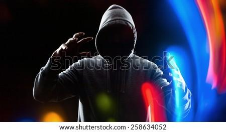 Futuristic hacker thief protection - stock photo