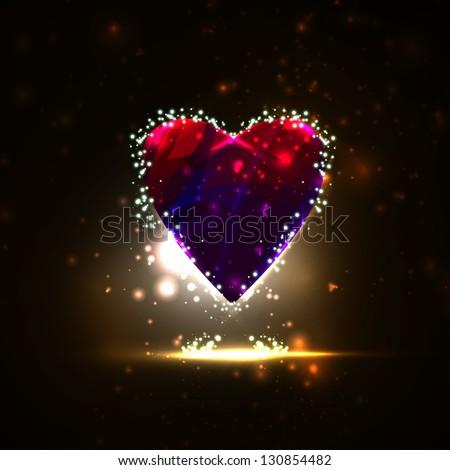 Futuristic heart illustration , abstract background. - stock photo