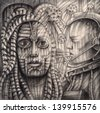 Futuristic human.Drawing on paper. - stock photo