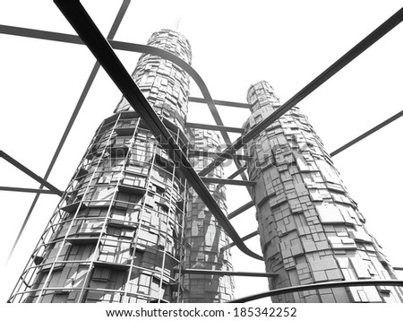 Futuristic Industry Skyscraper and Monorails on White Background. Black and white image. - stock photo
