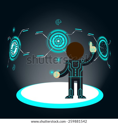 Futuristic interface. Man pushes button. Fantasy and hologram - stock photo