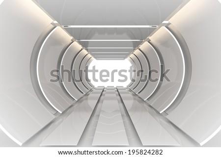 Futuristic Interior curve empty room with reflective materials - stock photo