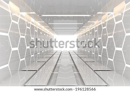 Futuristic Interior decorate white hexagon wall empty room with reflective materials - stock photo