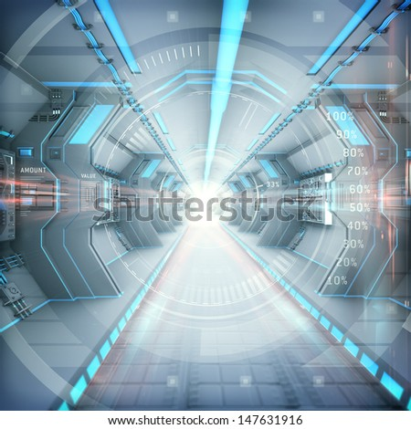 Futuristic interior view with infographic elements. Digital background as internet technology business concept. - stock photo