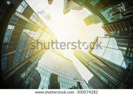 futuristic landscape of silhouettes of skyscrapers in the city. Focus on the tops of skyscrapers - stock photo