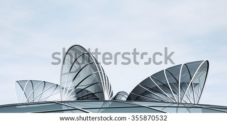 Futuristic landscape with modern building - stock photo