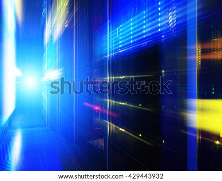 futuristic look of the room with the mainframe in the data center. server room. - stock photo