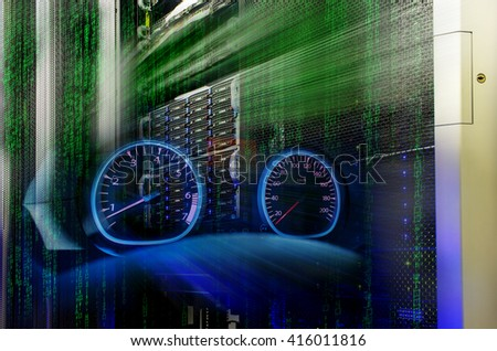 futuristic mainframe disk storage in the data center speed - stock photo
