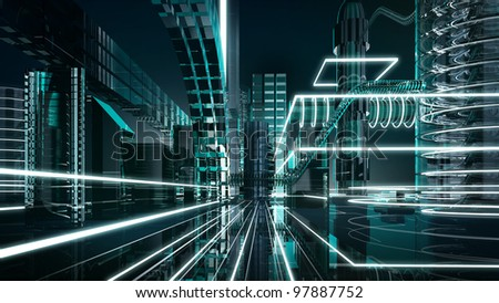 futuristic megalopolis1 - stock photo