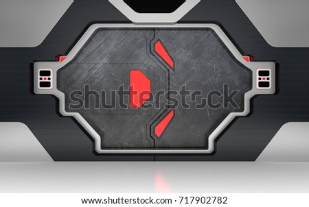 Futuristic metallic door or gate with red lights 3D render