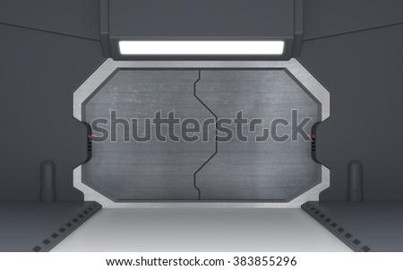 Futuristic metallic door or sci-fi gate - stock photo
