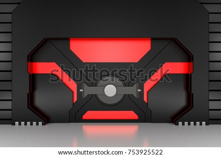 Futuristic metallic door with red windows 3D render