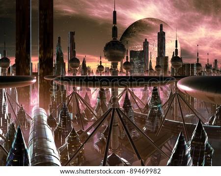 Futuristic Metropolis on Distant World - stock photo