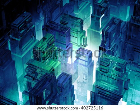 Futuristic micro chips city. Computer science information technology background. Sci fi megalopolis. - stock photo