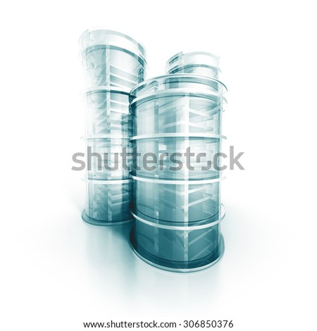 Futuristic Modern Abstract Design Glass Shiny Building Project. 3d Render Illustration - stock photo