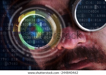 Futuristic modern cyber man with technology screen goggles - hacking concept  - stock photo