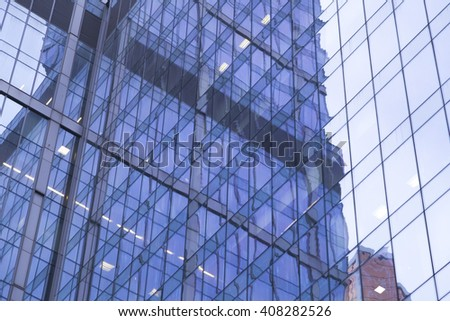 futuristic modern skyscrapers of glass and metal.  - stock photo