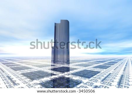 Futuristic office building on high tech plain - stock photo