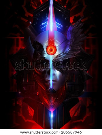 Futuristic portrait. Scifi angel and devil looking mask portrait illustration with neon lights and metal shapes. - stock photo