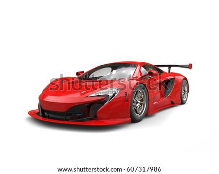 Futuristic Red Sportscar   Beauty Shot   3D Illustration