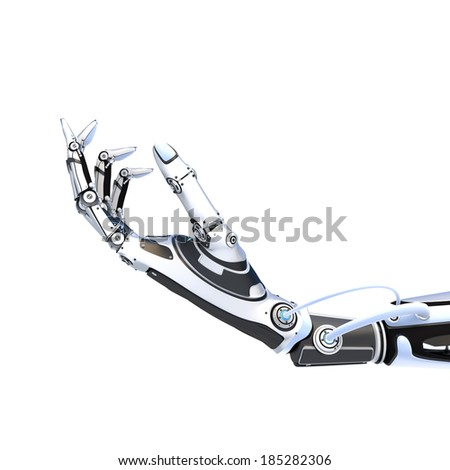 Futuristic robot artifical hand giving something isolated on white background - stock photo
