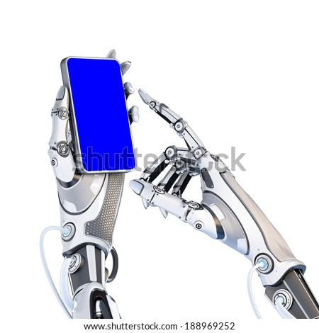 Futuristic robot holding glossy smartphone with artifical hand and touching it by finger isolated on white background. Screen mask included to easy cut out - stock photo