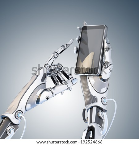 Futuristic robot holding glossy smartphone with artificial hand and touching it by finger isolated on white background. - stock photo