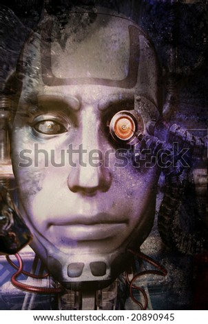Futuristic robot metal face illustration - stock photo