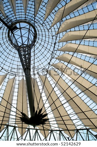 Futuristic roof at Sony Center, Potsdamer Platz, Berlin, Germany. - stock photo