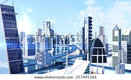Futuristic sci-fi city street view, 3d digitally rendered illustration   for use in presentations, education manuals, design, etc.