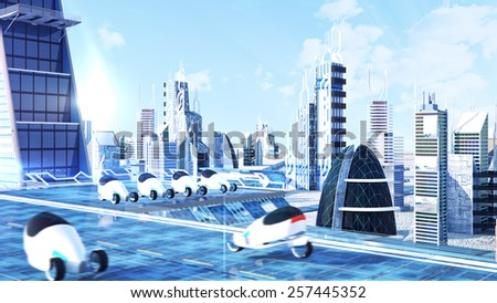 Futuristic sci-fi city street view, 3d digitally rendered illustration   for use in presentations, education manuals, design, etc. - stock photo