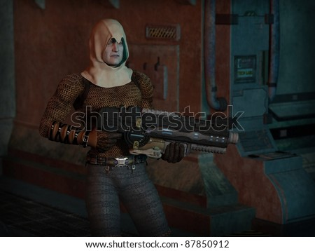 Futuristic sci-fi gunman with big gun, 3d digitally rendered illustration - stock photo