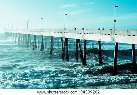 Futuristic Sci-Fi Pier - stock photo