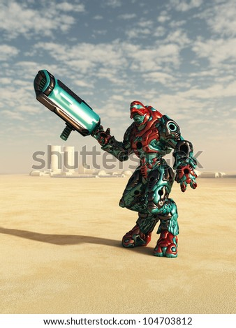 Futuristic science fiction battle droid in a desert landscape outside a small town, 3d digitally rendered illustration