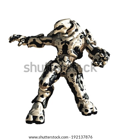 Futuristic science fiction battle robot ready to attack, 3d digitally rendered illustration - stock photo