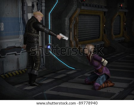 Futuristic science fiction inquisitor and victim, 3d digitally rendered illustration - stock photo