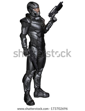 Futuristic science fiction soldier in protective armoured space suit, standing holding pistols, 3d digitally rendered illustration - stock photo