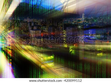 futuristic server room with beams and a night city in binary code and stacks mainframes - stock photo