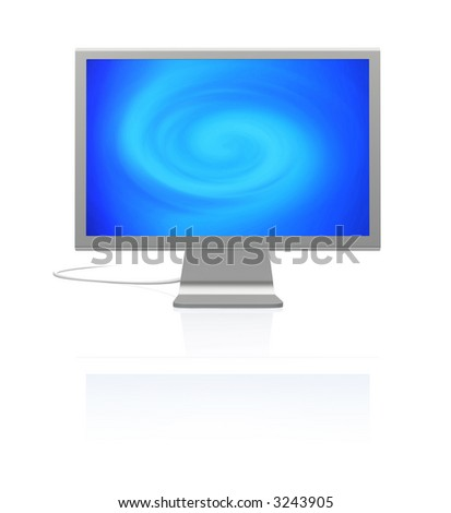 futuristic silver monitor on white with reflection displaying blue abstract twirl of light