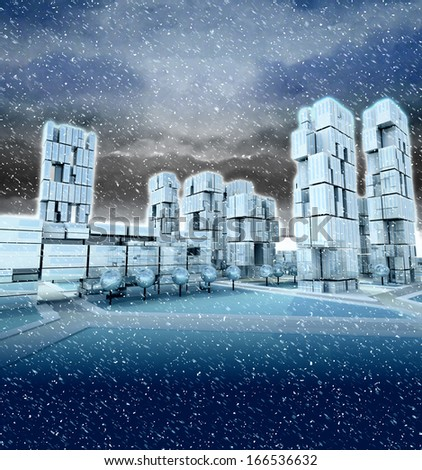 Futuristic skyscraper city at winter blizzard illustration - stock photo