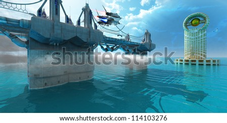 Futuristic Skyway - A spaceship takes off from a skyway on a planet with a blue moon in the sky. - stock photo