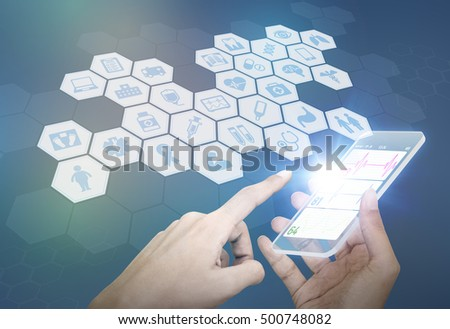 futuristic smart phone and medical concept, abstract image visual