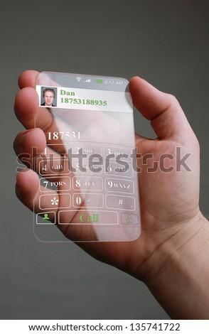 Futuristic Smart Phone on a gray background - stock photo