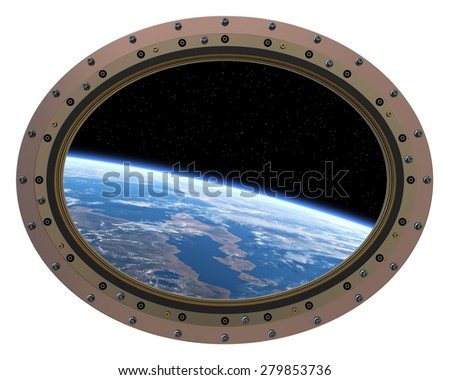 Futuristic Space Station Porthole. View From Space. 3D Scene. - stock photo