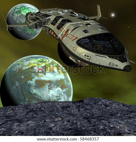 Futuristic Spaceship - stock photo