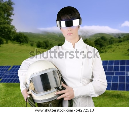 futuristic spaceship aircraft astronaut helmet woman solar plates green meadow [Photo Illustration] - stock photo
