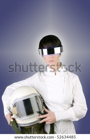 futuristic spaceship aircraft astronaut helmet woman space metaphor [Photo Illustration] - stock photo