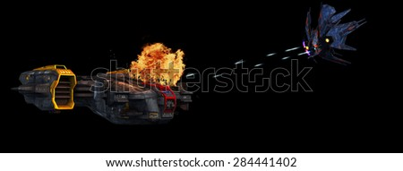 futuristic spaceship is attacked by alien battleship - isolated on black background - stock photo