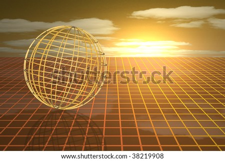 Futuristic sphere wireframe on a grid, sunset and clouds in the background - stock photo