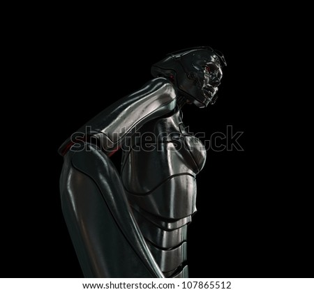 Futuristic steel robotic woman in profile on the black background
